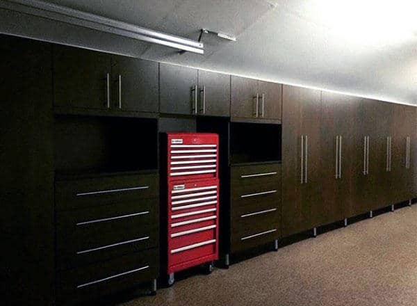 Dark Brown Wood Custom Home Garage Storage Cabinets