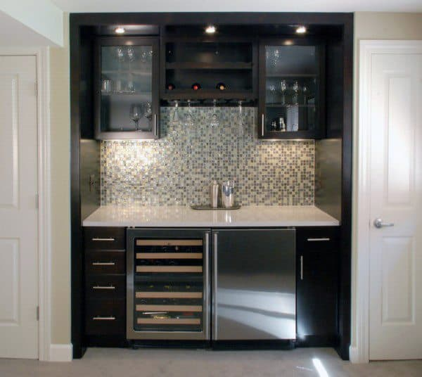 Dark Cabinets With Tile Backsplash Mini Bar Ideas