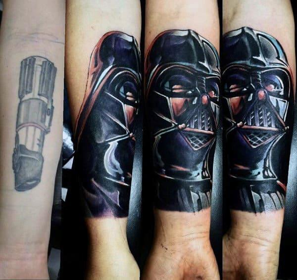 Dark Darth Vader Starwar Tattoo Male Forearms
