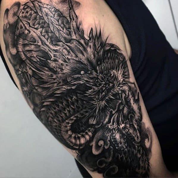 Dark Dragon Mens Black And Grey Outer Arm Tattoo Ideas
