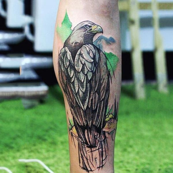 Dark Eagle Watercolor Tattoo On Calves For Men