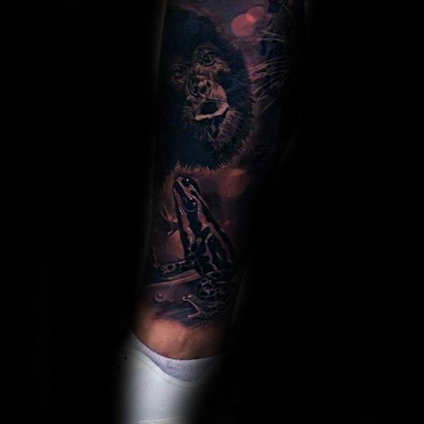 Dark Frog Guys Sleeve Tattoo Inspiration