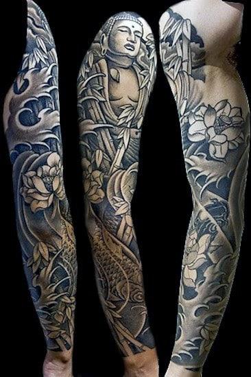 Dark Full Sleeved Floral Buddha Tattoo For Men