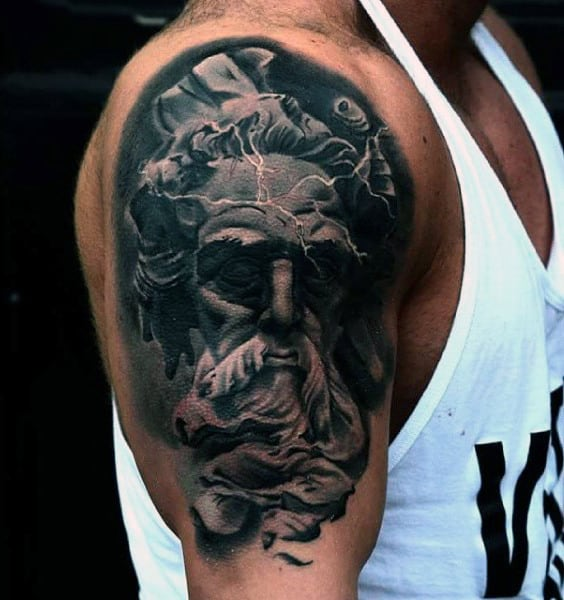 Dark God Zeus Tattoos On Arms For Men