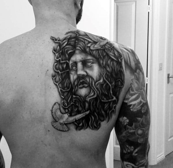 Dark Greek God Mythology Tattoos On Back For Men