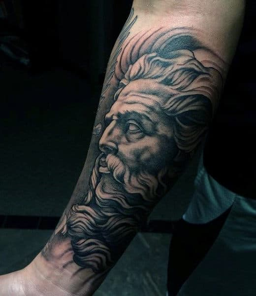 Dark Greek God Tattoos On Forearm For Men