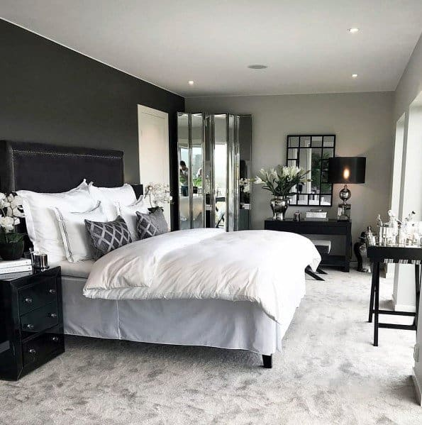 Dark Grey And Silver Master Bedroom Ideas