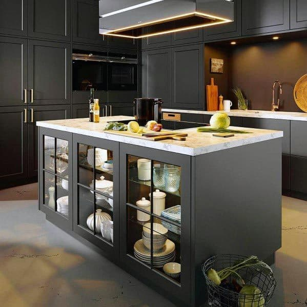 Dark Grey Contemporary Kitchens