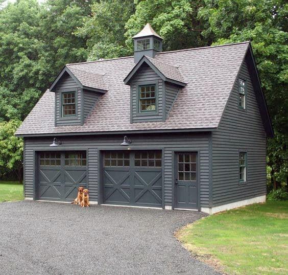 Dark Grey Detached Garage Ideas