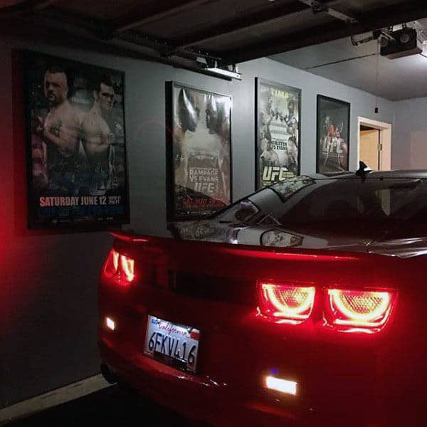 Dark Grey Garage Paint Colors With Poster Decor On Wall