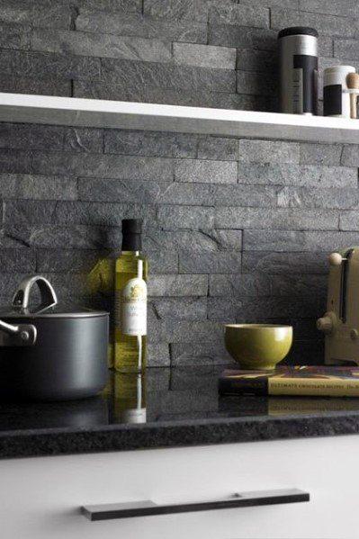 Dark Grey Ideas For Home Stone Backsplash