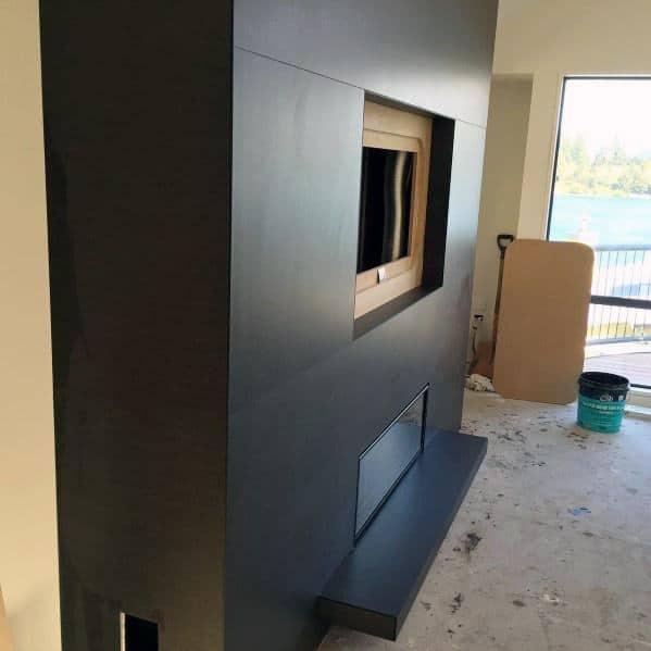 Dark Grey Large Format Fireplace Tile