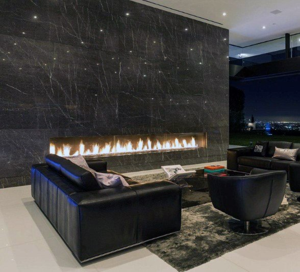 Dark Grey Marble Stone Modern Fireplace Design