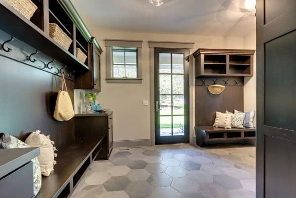 Dark Grey Mudroom Ideas Cool Hexagon Flooring Tiles