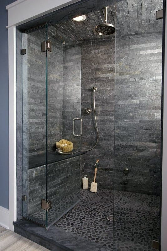 Dark Grey Pebble Floor Ideas Modern Bathroom Shower