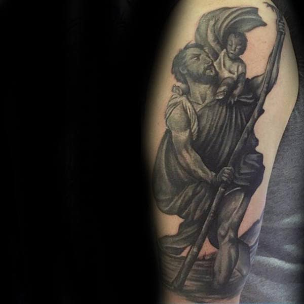 Dark Grey Saint Christopher Male Arm Tattoos