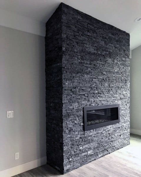 Dark Grey Stacked Stone Fireplace Ideas
