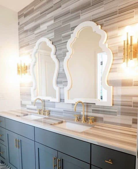 Dark Grey With Brass Hardware Bathroom Vanity Ideas Inspiration