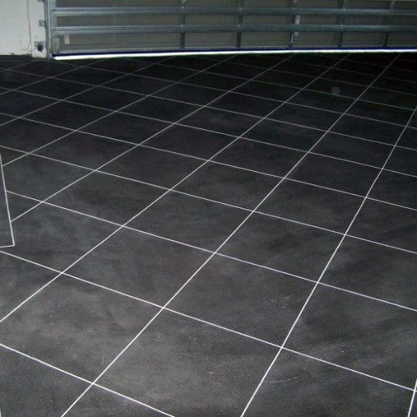 Dark Grey With Light Grey Grout Garage Flooring Tiles Ideas