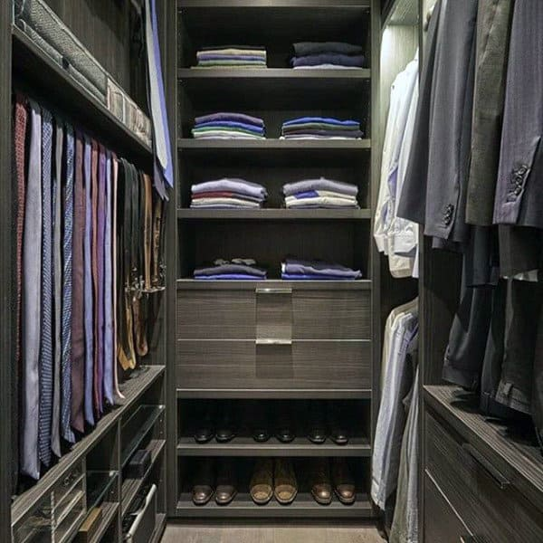 Dark Grey Wood Cabinet Closet For Guys