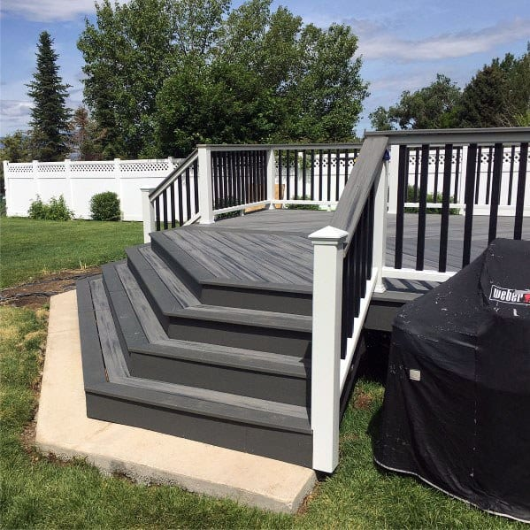 Dark Grey Wood Deck Steps Backyard Design