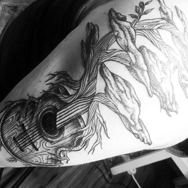 Dark Guitar With Vines Tattoo For Men On Arms