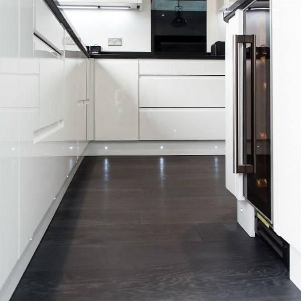 Dark Kitchen Hardwood Flooring Design Ideas With White Cabients