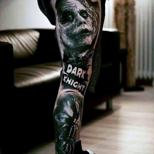 Dark Knight Themed Mens Joker Full Leg Sleeve Tattoos