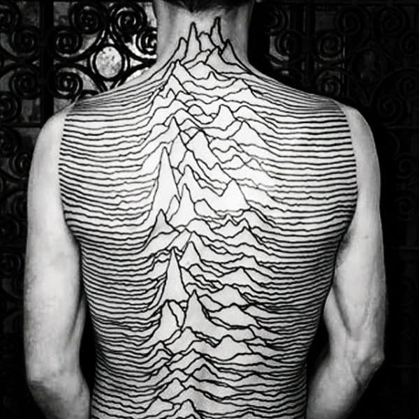 Dark Lines And Peaks Pattern Tattoo Male Full Back