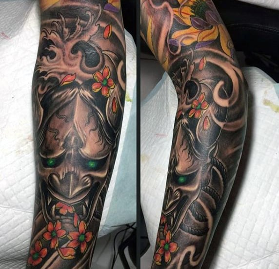Dark Mens Hannya Mask Tattoo Sleeve With Orange Flowers