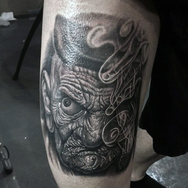 Dark Mens Popeye Thigh Tattoo With Realistic Portrait Design