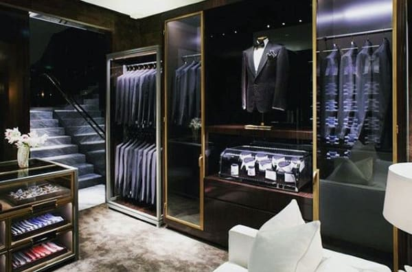 Dark Modern Male Closet With Formal Fashion Attire