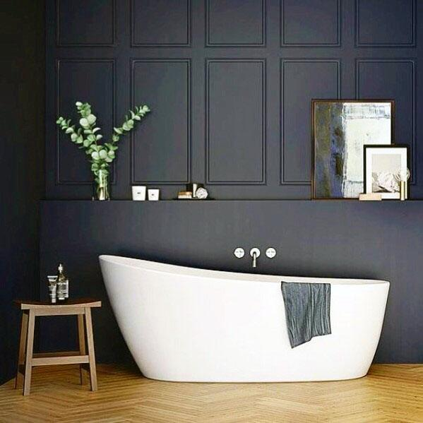 Dark Navy Blue Bath Tub Wall Bathroom Interior Ideas