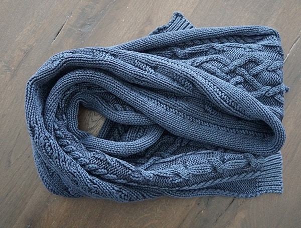 Dark Navy Mens Kinross Cashmere Chunky Cotton Cable Scarf