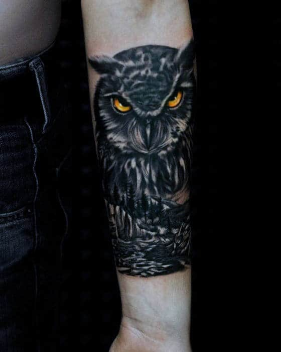 Dark Owl With Glowing Yellow Eyes Male Inner Forearm Tattoos
