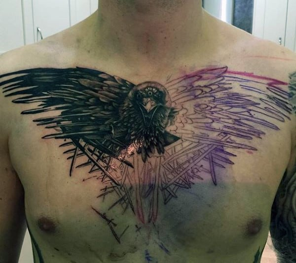 Dark Raven Tattoo With Purple Stencil Outline Tattoo On Guys Chest