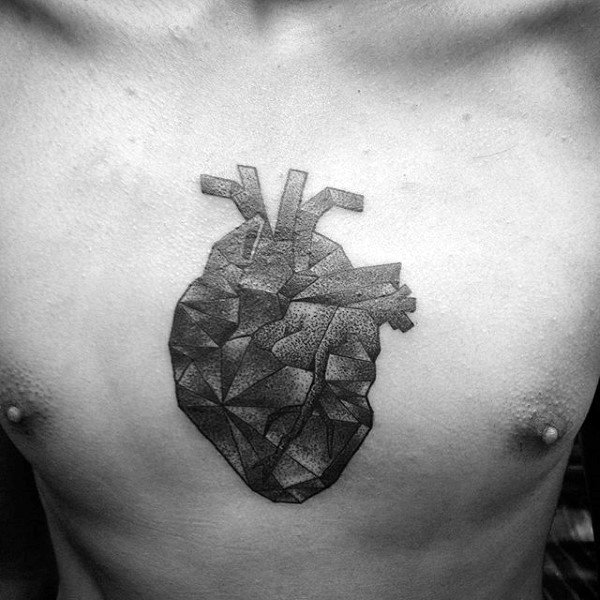 Dark Shaded Geometric Heart Black And Grey Male Chest Tattoo