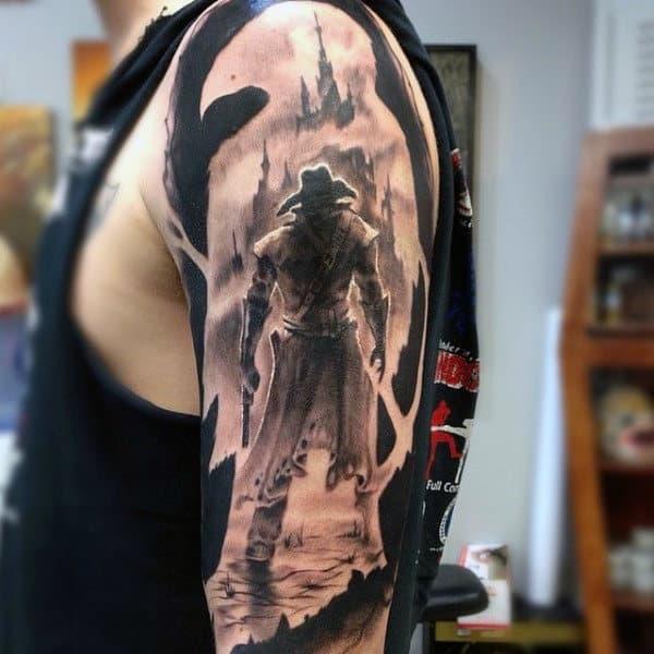 Dark Shaded Horror Western Tattoo Half Sleeve For Men