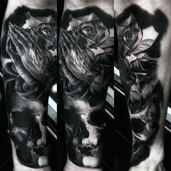 Dark Shaded Rose With Praying Hands And Skull Mens Great Shin Tattoo Ideas