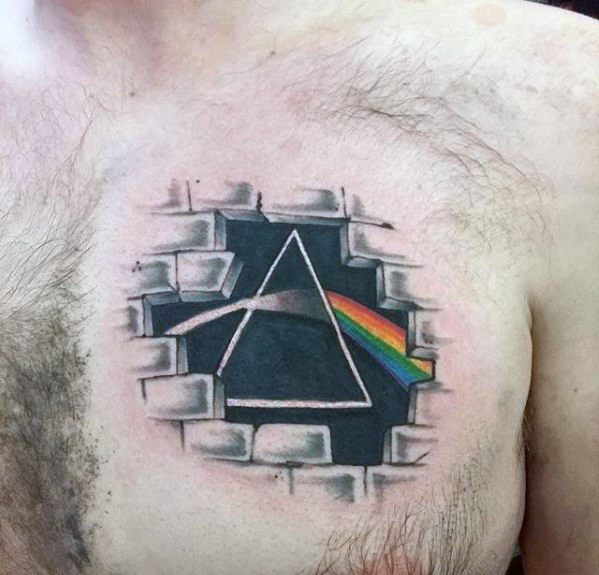 Dark Side Of The Moon Upper Chest 3d Tattoos Guys