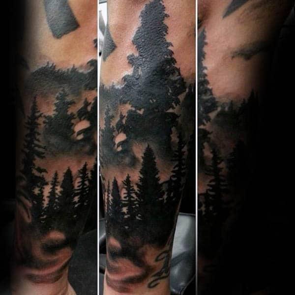 Dark Silhouette Forest Mens Forearm Tattoo
