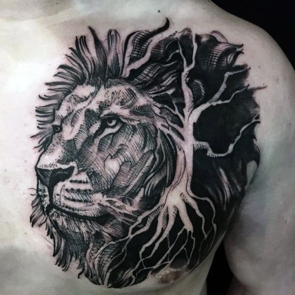 Dark Sketched Black Ink Lion Chest Tattoos For Men