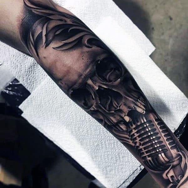 Dark Skull Metallic Realistic Microphone Mens Music Sleeve Tattoo