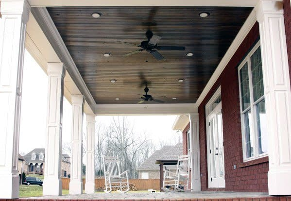 Dark Stained Brown Wood Porch Ceiling Ideas