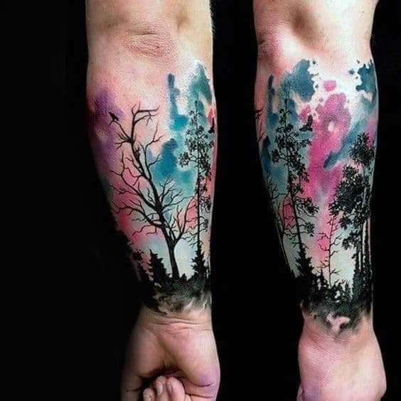 Dark Trees And Watercolor Tree Tattoo Male Forearms