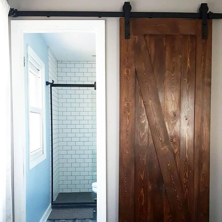 Dark Wood Bathroom Barn Door