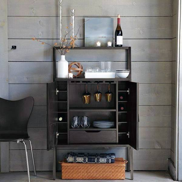 Dark Wood Cabinet Mini Bar Ideas