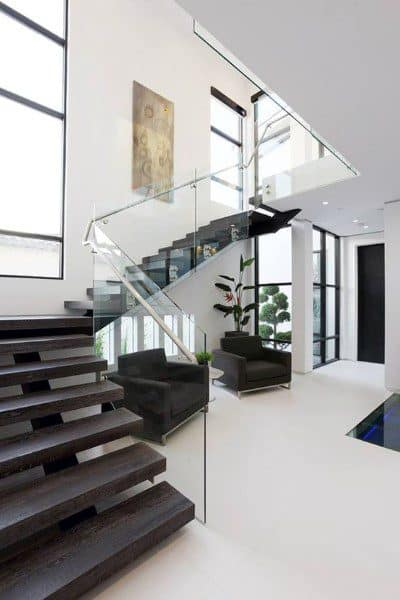 Dark Wood Glass Staircase Inspiration Ideas