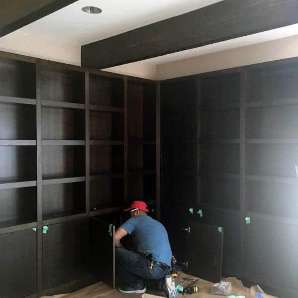 Dark Wood Home Ideas Built In Bookcase