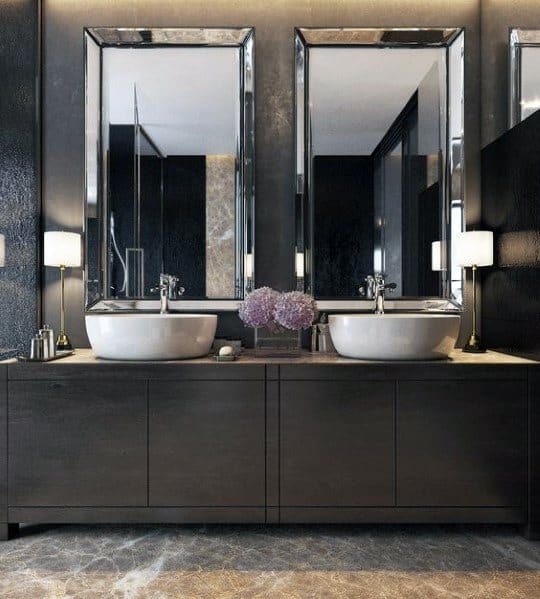 Dark Wood Luxury Bathroom Vanity Ideas